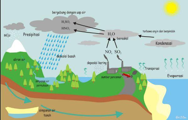 penyebab dan dampak hujan asam