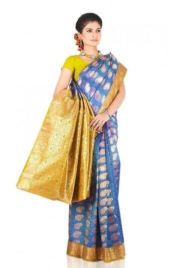 Blue And Golden Bangalore Saree