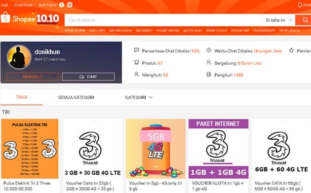 Toko Online Jual Pulsa dan Paket Data Termurah di Shopee - donikhun