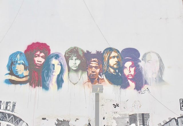 Graffiti in Tel-Aviv depicting several members of the 27 Club. Mr. Mojo Risin and other stories of Rock, Radio, and Regulations. Marchmatron.com