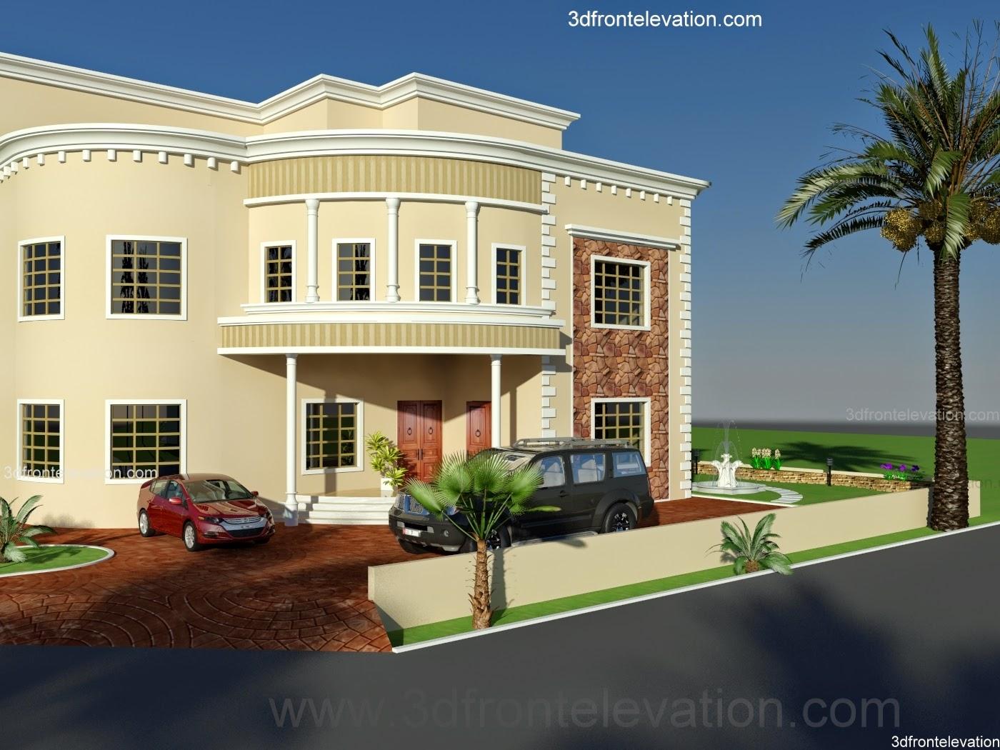 3D Front Elevationcom Dubai Arabian HOuse 3D Front Elevation Design