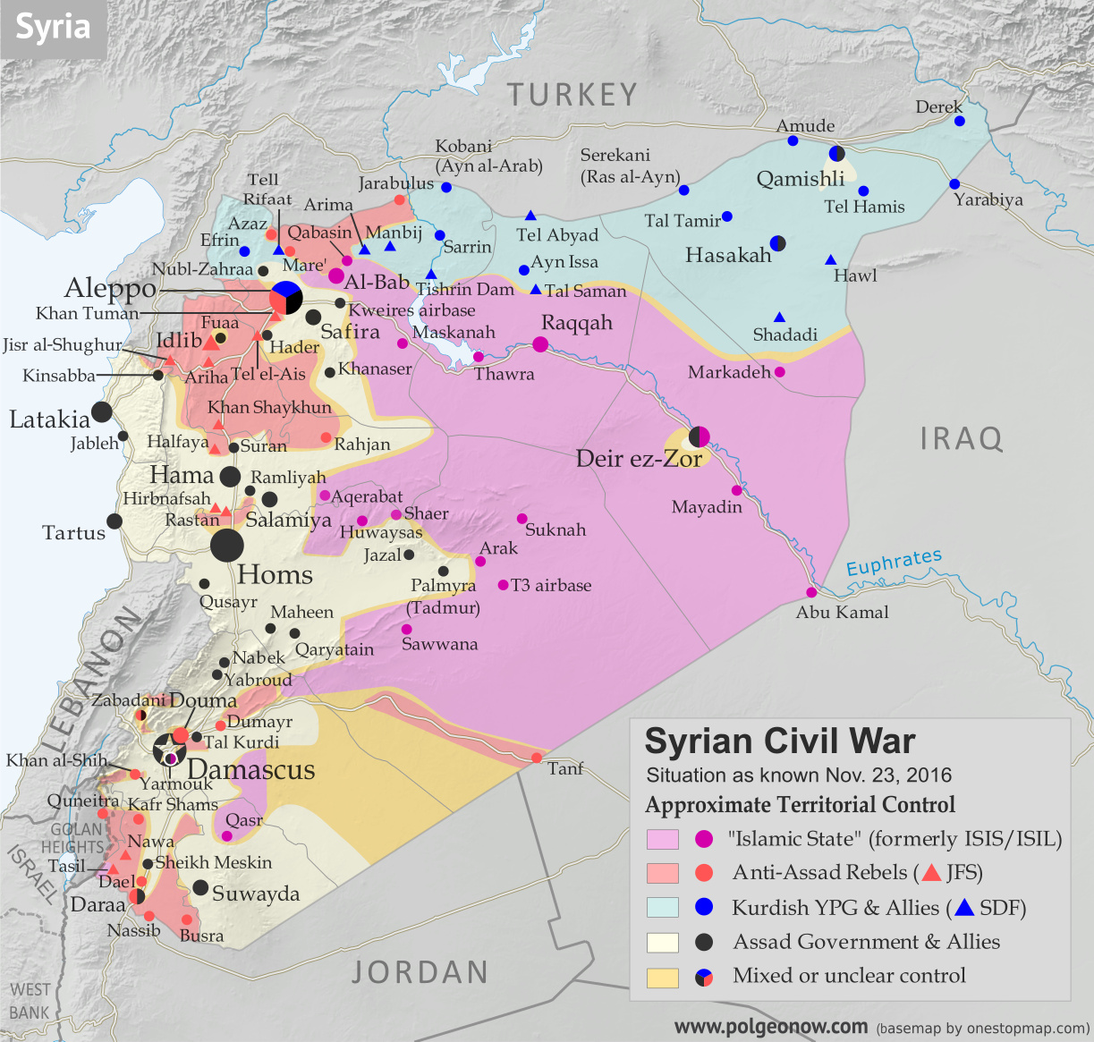 Map of fighting and territorial control in Syria's Civil War (Free Syrian Army rebels, Kurdish YPG, Syrian Democratic Forces (SDF), Jabhat Fateh al-Sham (Al-Nusra Front), Islamic State (ISIS/ISIL), and others), updated to November 23, 2016. Now includes terrain and major roads (highways). Includes recent locations of conflict and territorial control changes, such as Al-Bab, Khan al-Shih, Tal Saman, Qabasin, and more. Colorblind accessible.