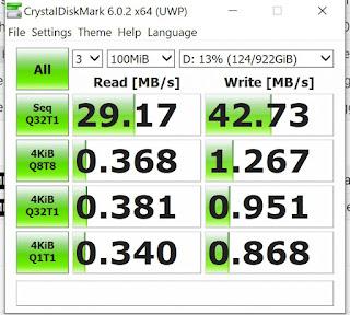 hasil test speed HDD external + OTG Type C Samsung S8