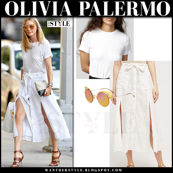 Olivia Palermo in white drifter mimi tee, white midi eyelet front button tularosa indira skirt and brown sandals what she wore