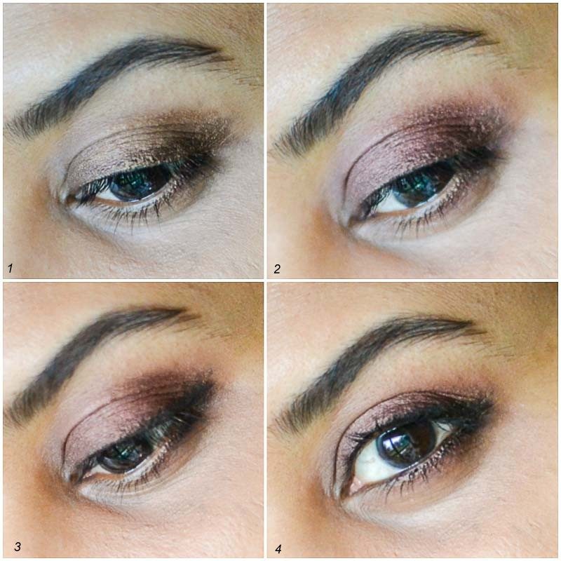easy everyday fall winter makeup tutorial - how to steps - berry toned neutral eyeshadows blush