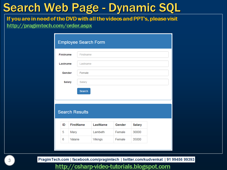 Sql server,  net and c# video tutorial: Implement search web