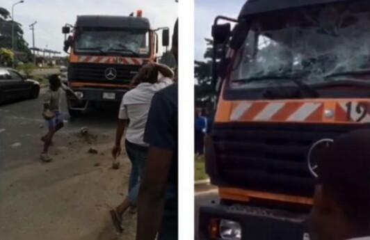 Reckless Truck Driver Driving Against Traffic Hits Mum & Her Twins In Lagos