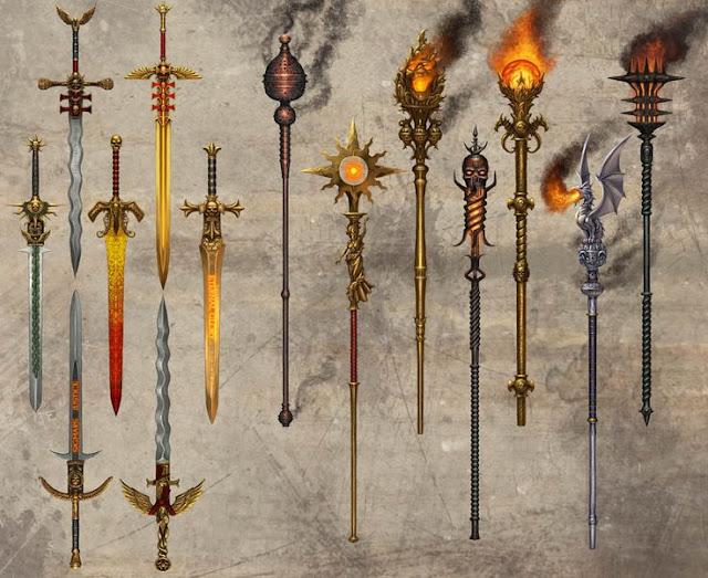 Além de espadas, alguns cajados interessantes também podem encher os olhos dos conjuradores.