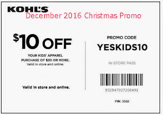 free Kohls coupons for december 2016