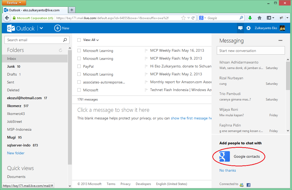 Google Talk Ada di Outlook.com dan SkyDrive.com