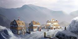 My Journey: Revised Snowy Village art test for D&D
