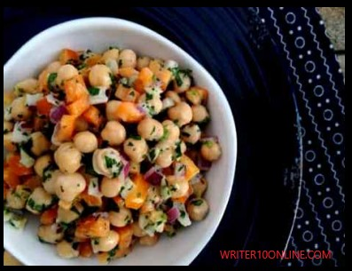 Chickpea salad with tahini dressing recipe