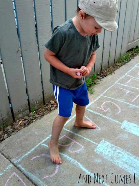 Preschool music and movement activity using a giant chalk keyboard