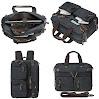 HIKA Vintage 3-Way Convertible Briefcase Laptop Backpack Messenger Bag Backpack-Vintage Black