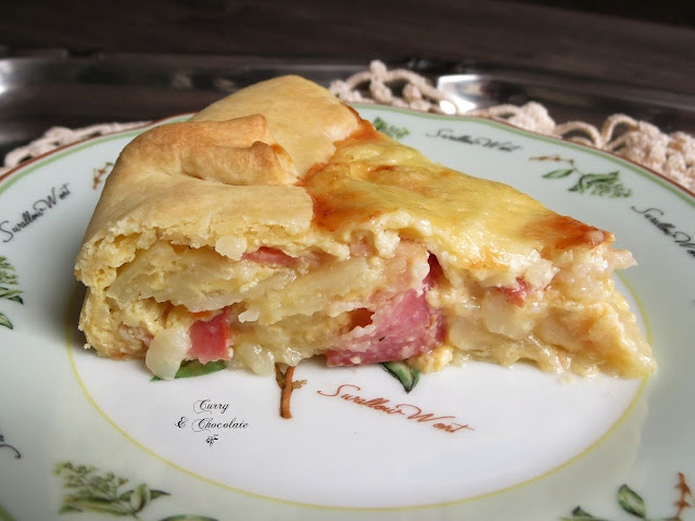 Pastel de patatas y bacon o tarte paysanne - Potato and bacon cake
