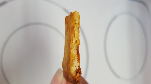 low carb FatHead cheese crackers, showing bready texture