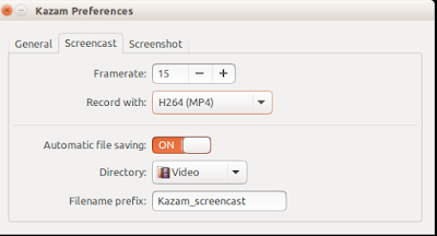 Pengaturan Aplikasi Kazam di Ubuntu
