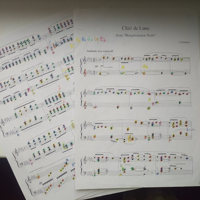 "Evelina's coloured-in musical notes #3 - 'Clair de Lune from ""Bergamesque Suite""'"