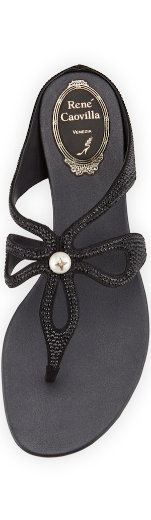 Rene Caovilla Crystal Loop-Strap Sandal, Black
