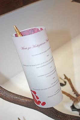 Menükarten zur Hochzeit auf Transparentpapier