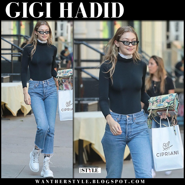 Gigi Hadid in black top, cropped jeans and white shoes model street style june 4