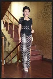 Baju Kebaya Hitam Modern Lengan Pendek