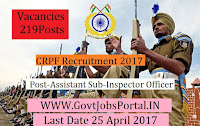Central Reserve Police Force Recruitment 2017– 219Assistant Sub-Inspector