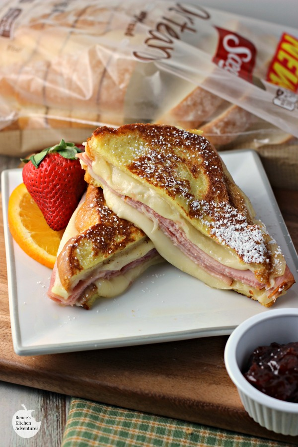 Monte Cristo Style Grilled Cheese Sandwich on plate