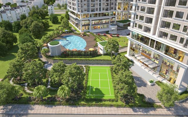 Bể bơi và sân thể thao tại Iris Garden