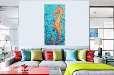 coastal decor colorful room seahorse