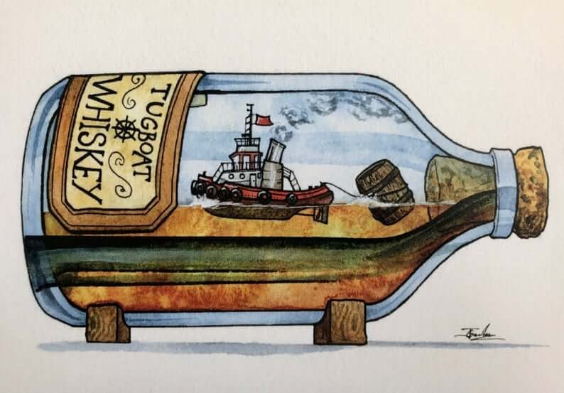 08-Tugboat-Whiskey-Jon-Guerdrum-Ship-in-a-Bottle-Drawings-and-Paintings-www-designstack-co