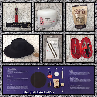 subscription service, hair mask, lip gloss, manicure set, hat, lifestyle items