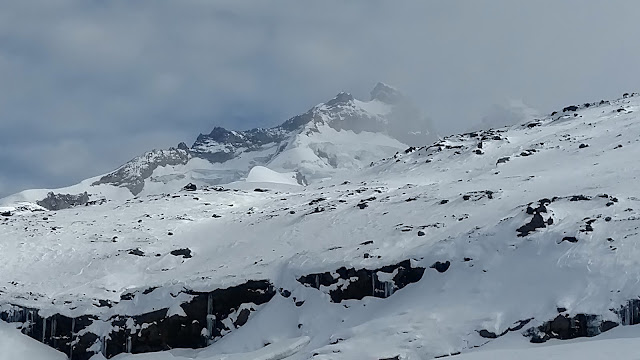 the peak of Mount Tronador in the morning- high on the glacier