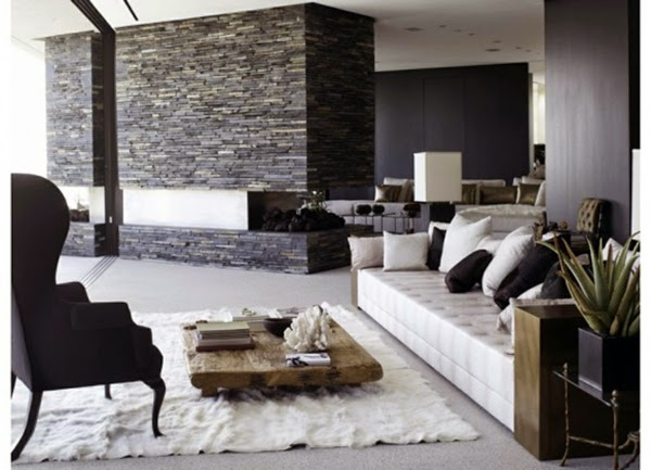 Living room design ideas, natural stone wall in the interior