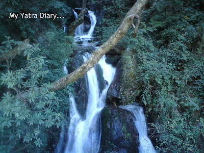 A Waterfall in the Garhwal Himalayas in Uttarakhand during the Char Dham Yatra