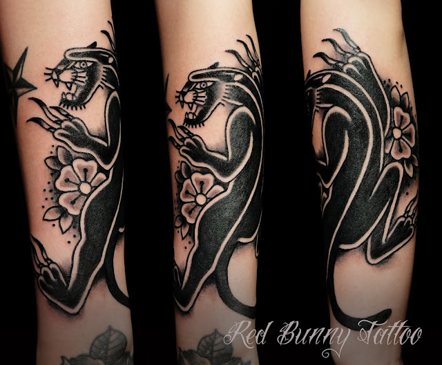 one point tattoo black panther ブラック パンサータトゥー traditional tattoo