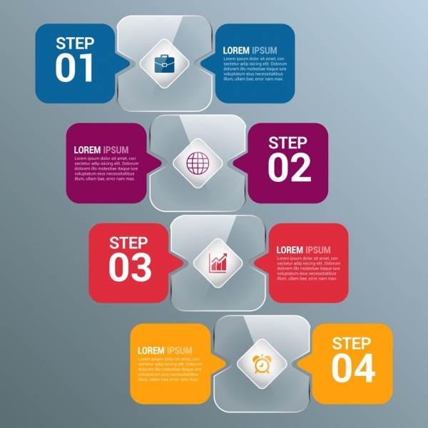Infographic template colored shiny speech baubles style Free vector
