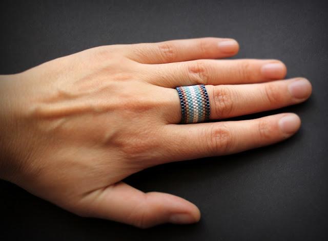 купить широкое кольцо из бисера интернет магазин необычных колец