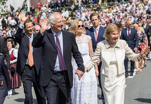 Prince Hans-Adam II, Princess Marie, Prince Alois, Princess Sophie, Prince Joseph Wenzel and Prince Nikolaus attend Liechtenstein National Day