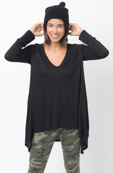 Shop for Black V-Neck Asymmetrical Swing Tunic long sleeve on caralase.com