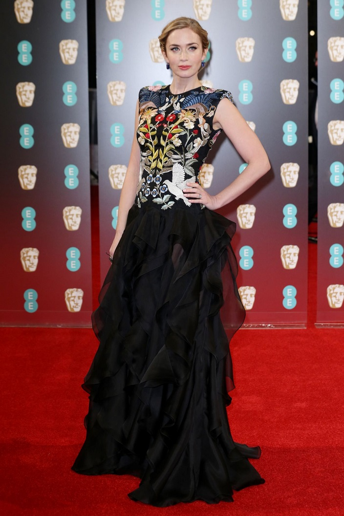 Emily Blunt wears Alexander McQueen to the 2017 BAFTAs