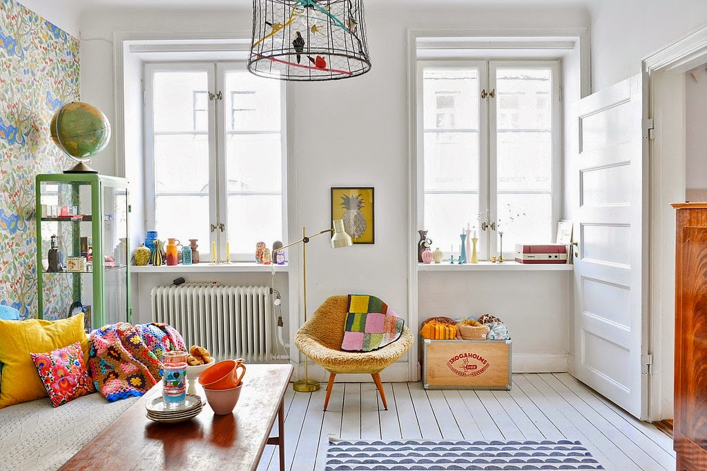 my scandinavian home a happy swedish home with bright colours and bold prints. Black Bedroom Furniture Sets. Home Design Ideas