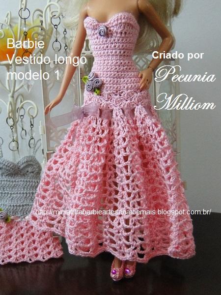 Vestido de Festa de Crochê Modelo 1  Criação de Pecunia M. M.