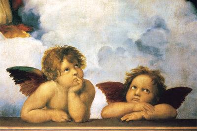 Raffaello, Madonna Sistina, dett. Cherubini