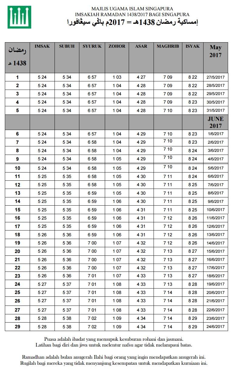 jadual Waktu Berbuka Puasa Dan Imsak Singapura 2017