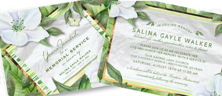 beautiful garden white floral memorial service invitation design