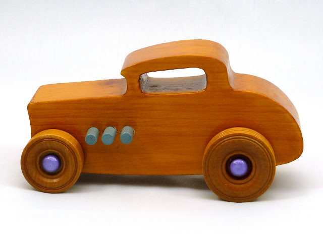 Left Side - Wooden Toy Car - Hot Rod Freaky Ford - 32 Deuce Coupe - Pine - Amber Shellac - Metallic Purple Hubs - Gray Exhaust