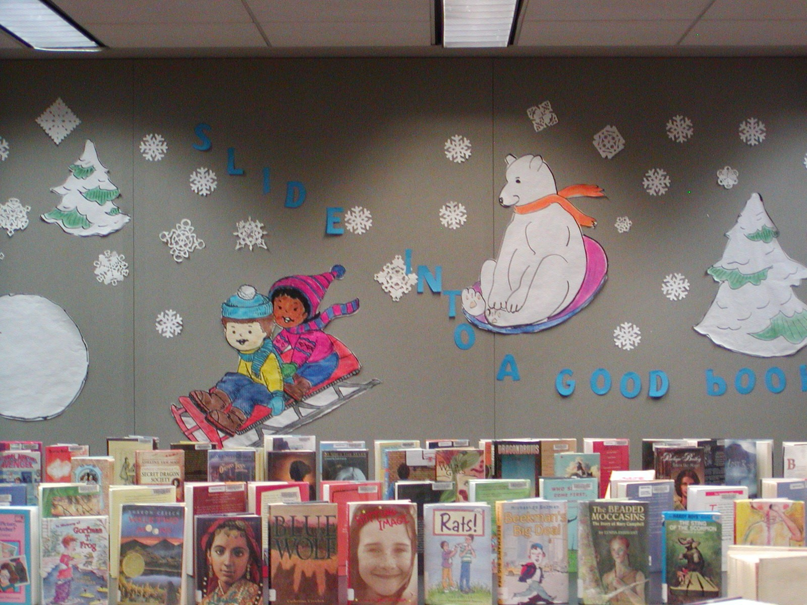 Fussy Hen At The Library Wall Displays Polar Bears