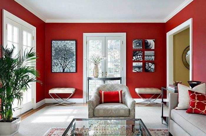 kırmızı beyaz salon örnekleri