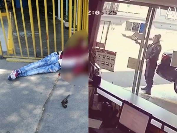 Así defendió policía a su compañero de ataque de ladrón